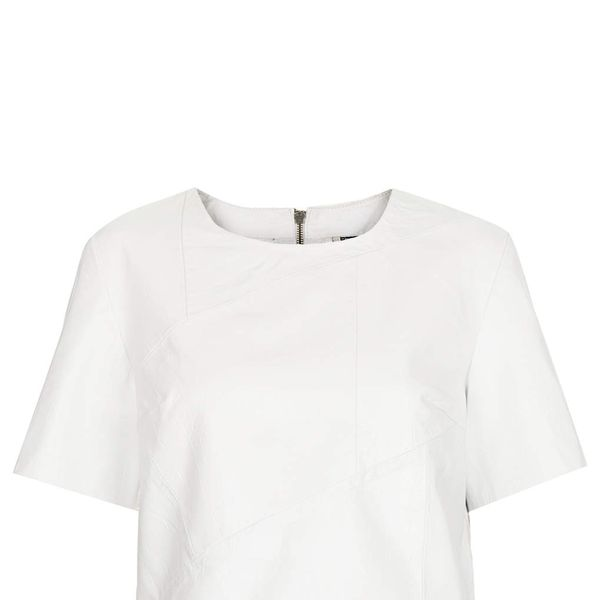 topshop.com Croc Leather Panelled Tee