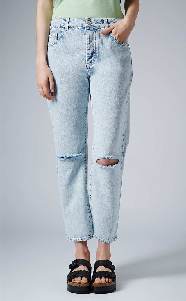 Topshop Moto Bleach Wash Ripped Girlfriend Jeans