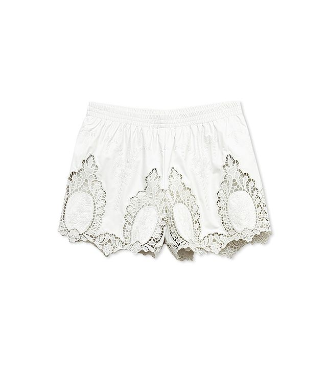 Forever21 Embroidered Faux Leather Shorts