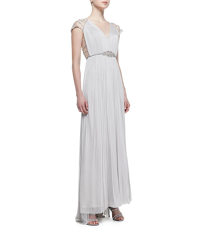 Catherine Deane Jewel-Belted Silk Lace-Sleeve Gown
