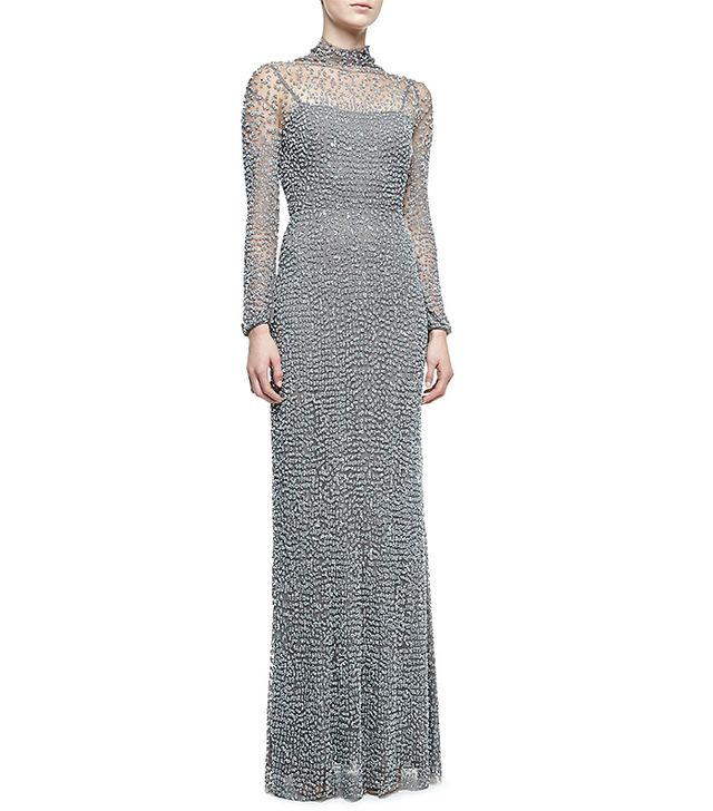 Jenny Packham Open Back Long-Sleeve Beaded Gown