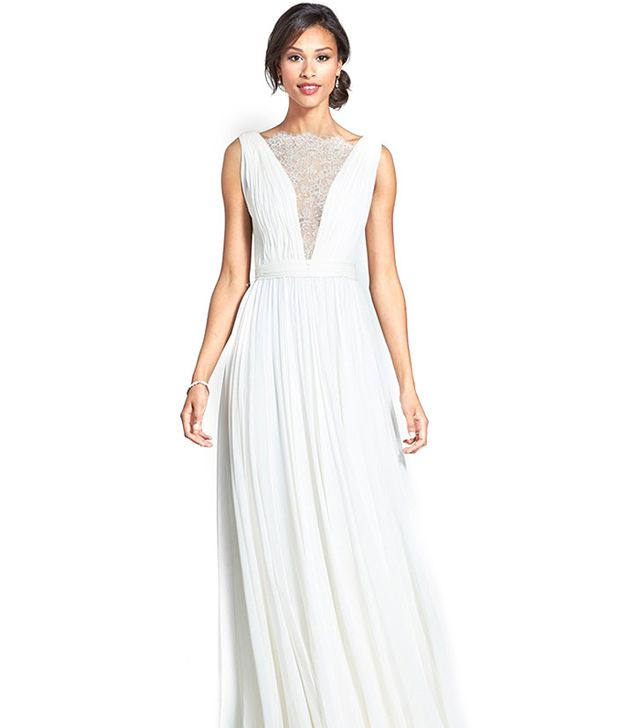 Reem Acra Lace Inset Draped Silk Georgette Dress