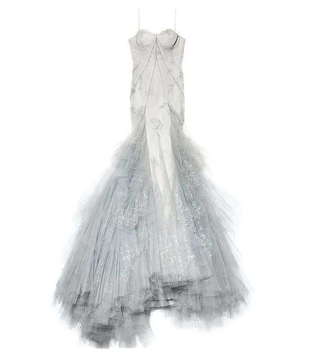 Zac Posen Hand Painted Tulle Strapless Ruffle Skirt Gown