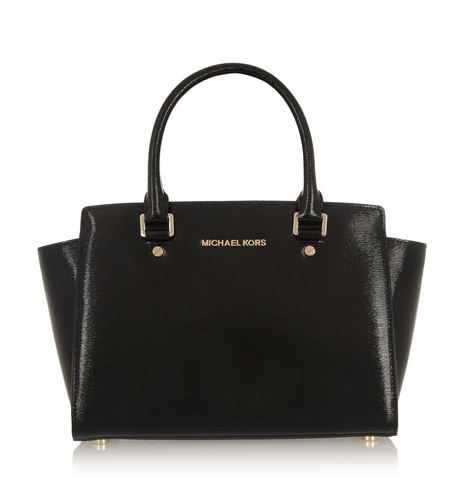 Michael Kors Selma Medium Textured Patent-Leather Tote