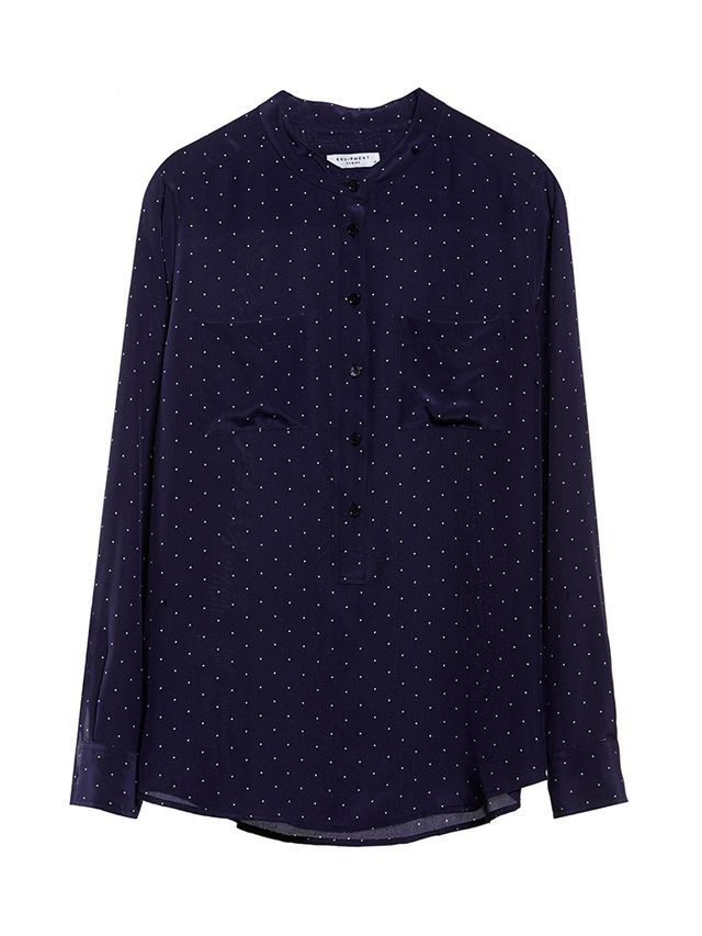 Equipment Ava Peacoat Archive Petite Dot Print Shirt