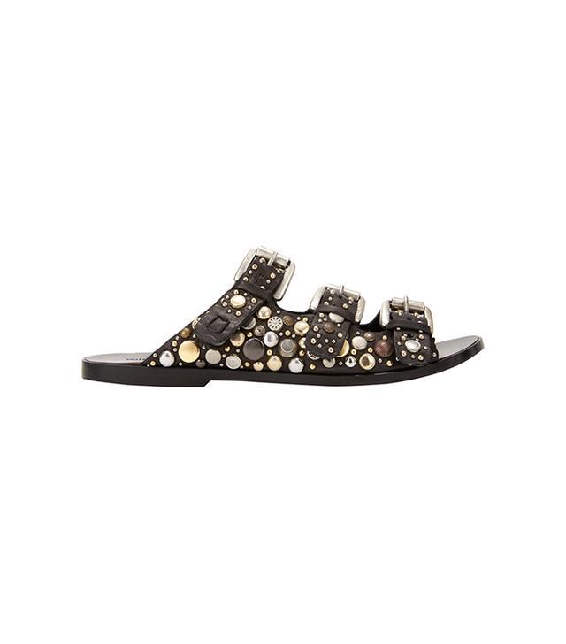 Collection Privée? Embellished Triple-Buckle Flat Sandals