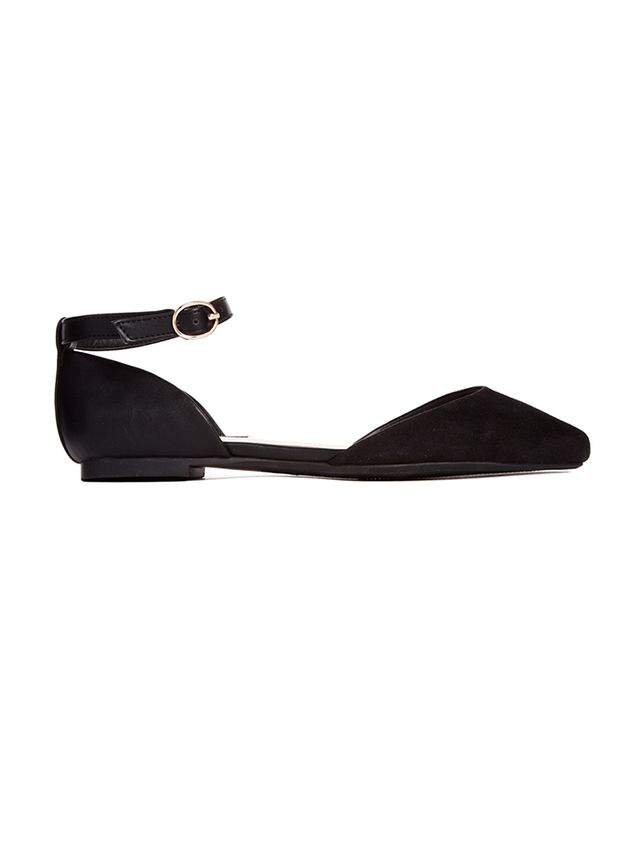 London Rebel Ankle Strap Pointed Flats