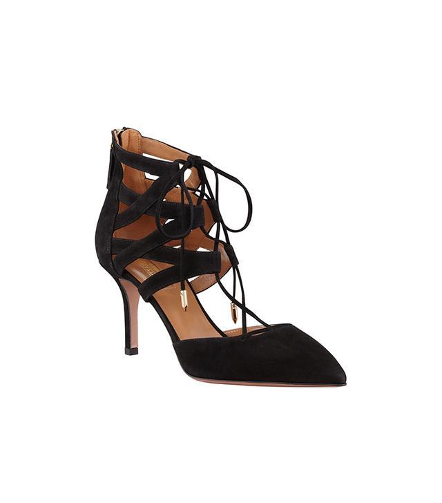 Aquazzura Belgravia Lattice Suede Sandals
