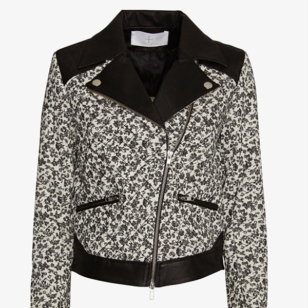 Thakoon Addition Floral Pattern/Leather Combo Jacket