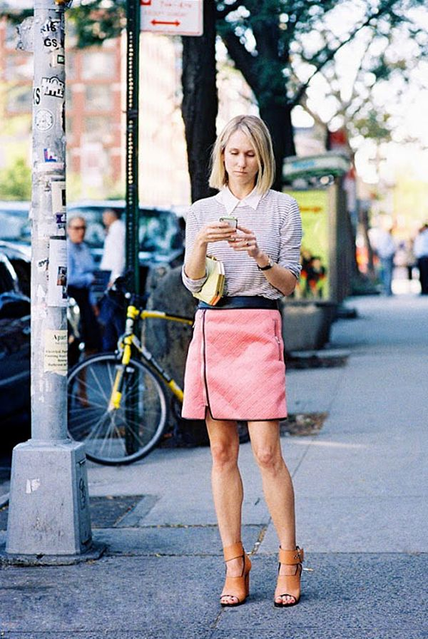 Collared Blouse + Mini Skirt