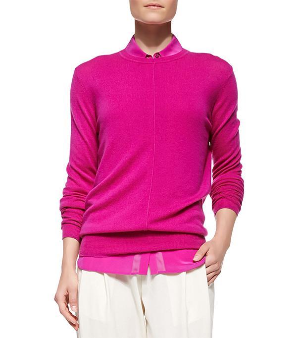 Vince Cashmere Pointelle-Trim Sweater