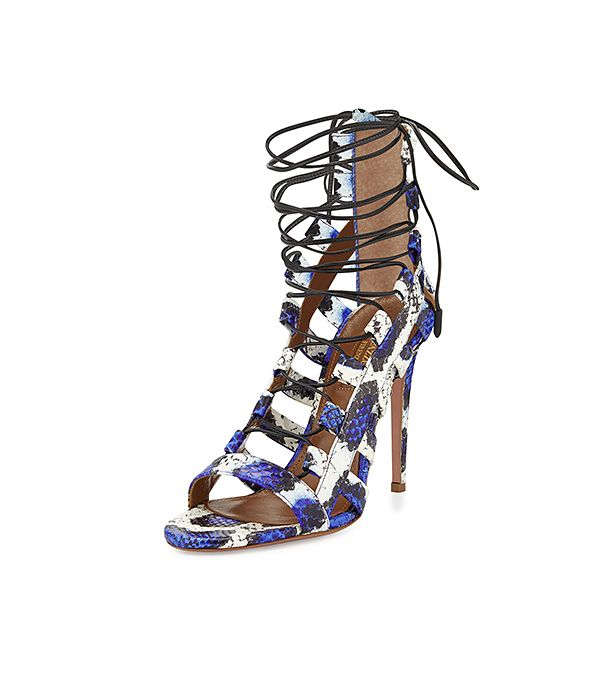 Aquazzura Amazon Lace-Up Snakeskin Sandals