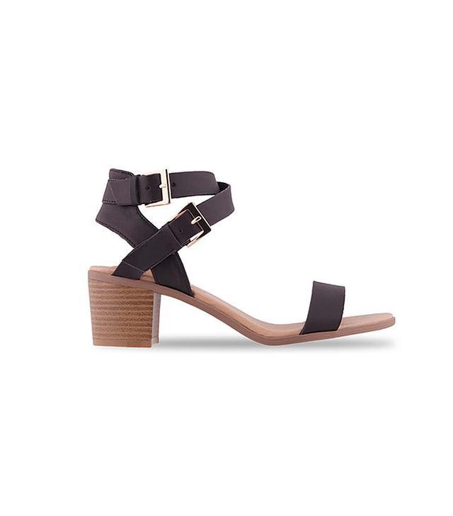 Blanco Tacón Tiras Sandals