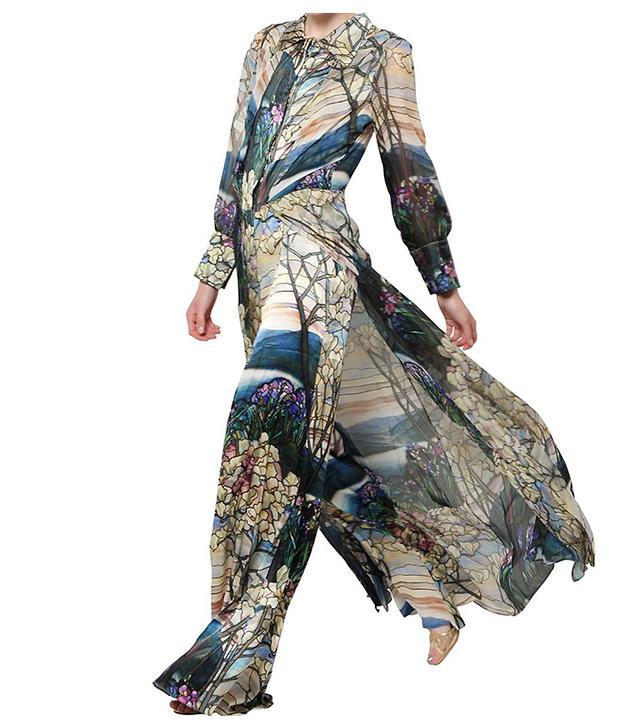 Fabiana Milazzo Printed Silk Paneled Jumpsuit