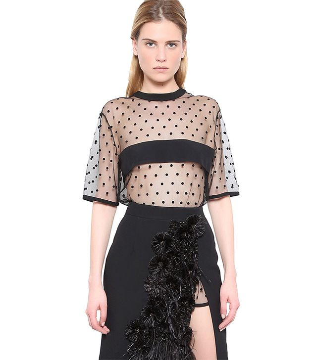 Emanuel Ungaro Polka Dot Tulle And Cady Top