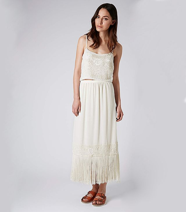 Topshop Cropped Cami Top And Fringe Hem Maxi Skirt
