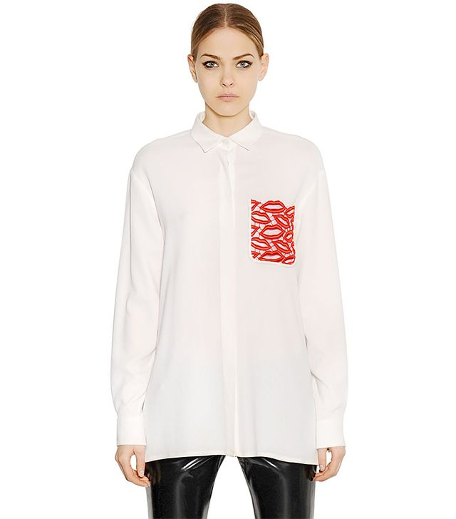 MSGM Viscose Crepe Shirt With Lip Lace Pocket
