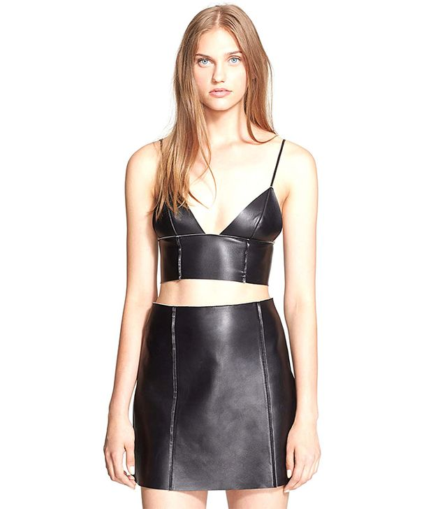 T By Alexander Wang Bonded Nappa Leather Bralette