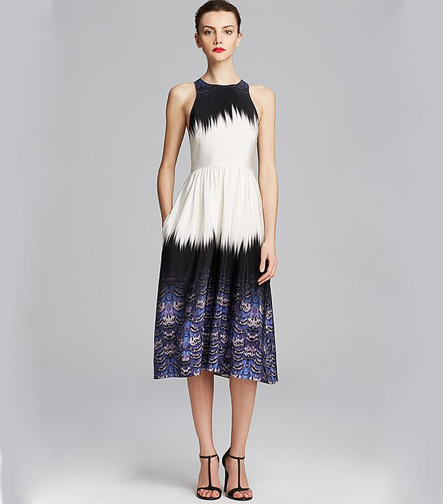 Tibi Ibis Silk Bordered Crossback Dress