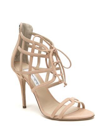 Monique Lhuillier Dahlia Suede Caged Lace Up Sandals