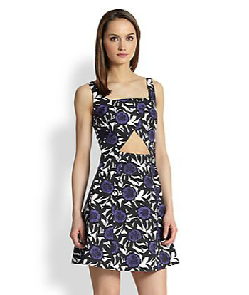 Rebecca Minkoff Hawk Cutout Rose-Print Dress