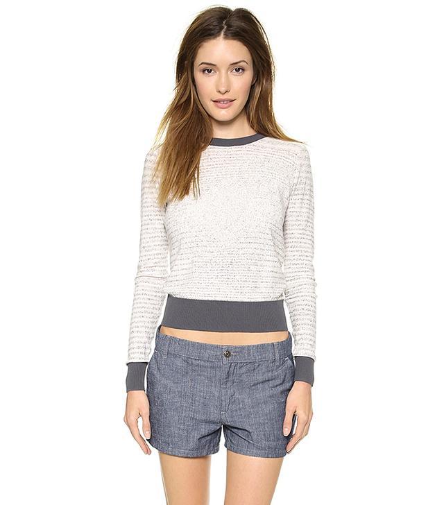 ATM Anthony Thomas Melillo Broken Stripe Cotton Sweater