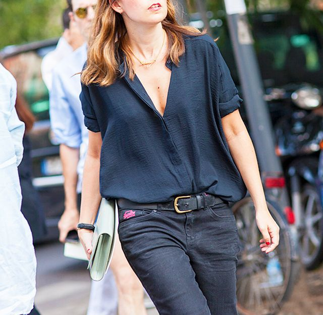 Short-Sleeve Blouse + Black Skinny Jeans