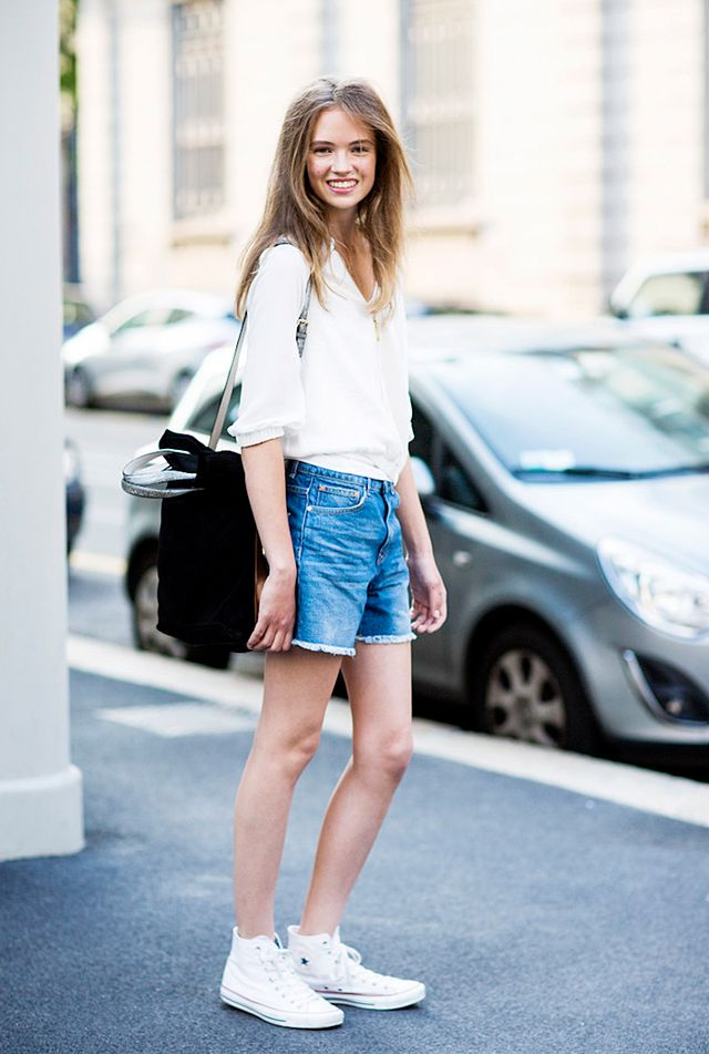White Button-Up Blouse + Denim Shorts