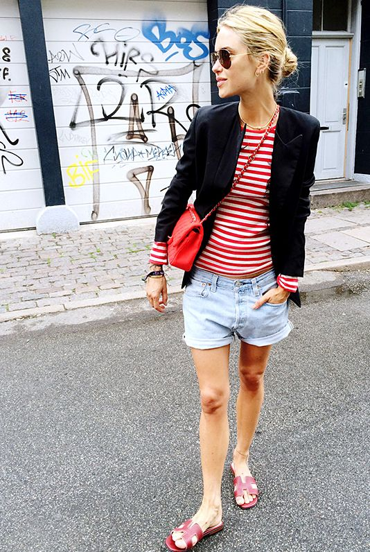 Striped Top + Cutoff Denim Shorts