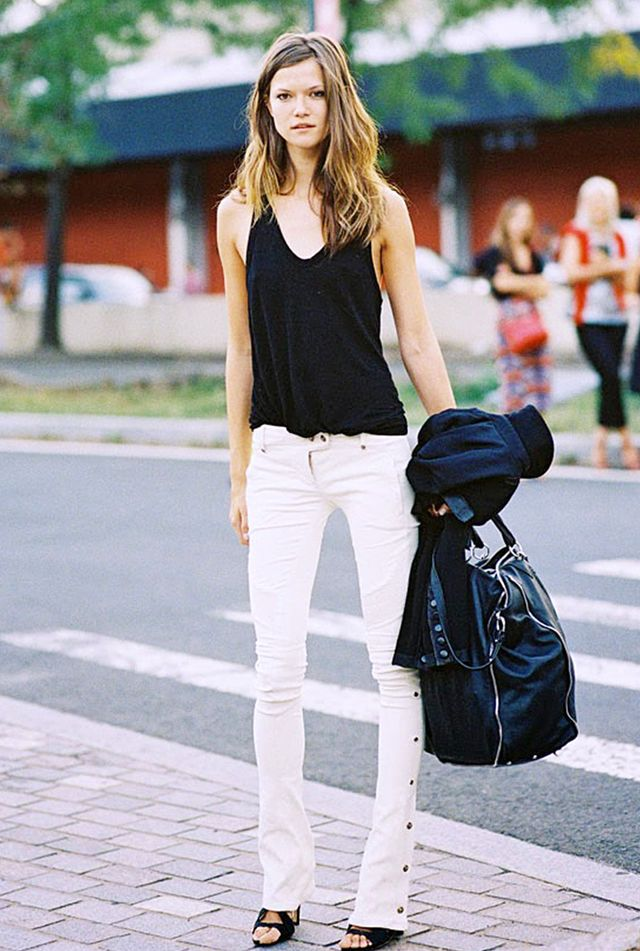 Black Tank + Flared Jeans