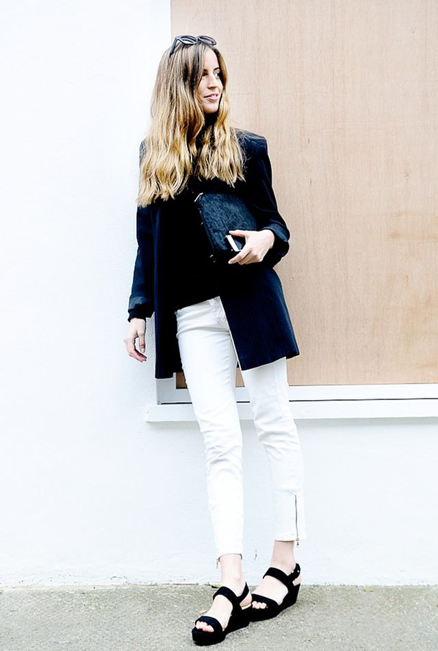 Oversized Blazer + Cropped White Jeans
