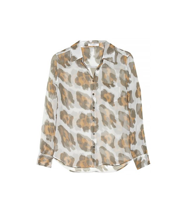 Equipment Brett Printed Silk-Chiffon Shirt