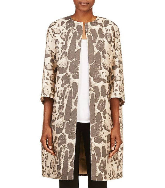 Giambattista Valli Beige Leopard Dropped-Shoulder Coat