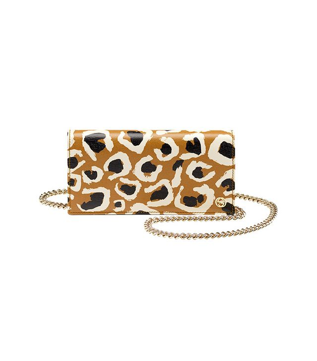 Gucci Leopard Print Leather Chain Wallet