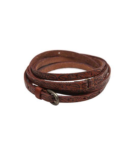 Free People Tooled Leather Double Wrap Belt