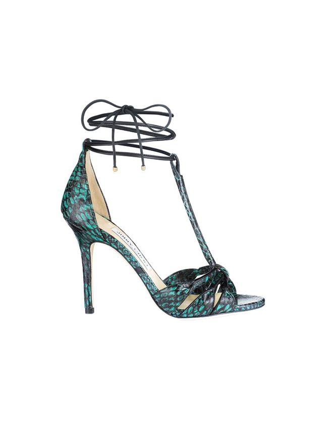 Jimmy Choo Motive Emerald Printed Elaphe and Nappa Strappy Sandals