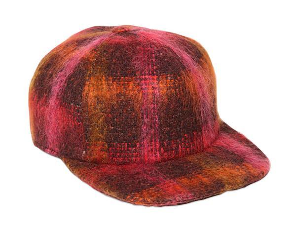 Federica Moretti Bizet Mohair & Wool Plaid Baseball Hat