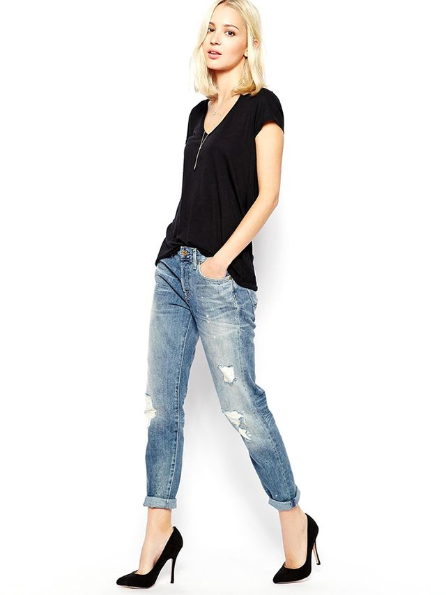 7 For All Mankind Boyfriend Jeans With Distressing