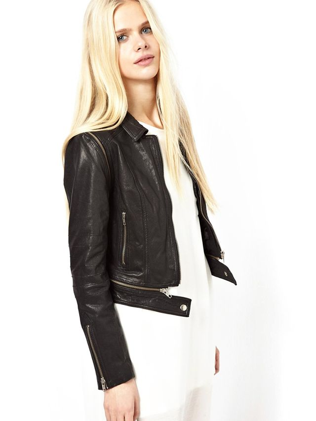 Just Female Leather Biker Jacket With Zip-Off Sleeves