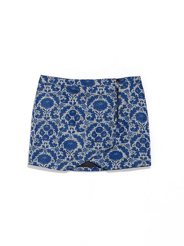 Zara Jacquard Miniskirt With Zip