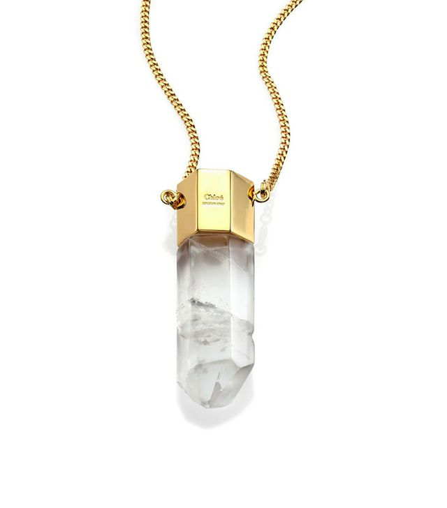 Chloé Diann Rock Crystal Thin Pendant Necklace