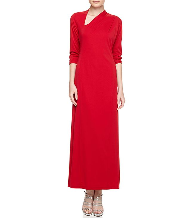 Melissa Masse Three-Quarter-Sleeve Asymmetric Maxi Dress