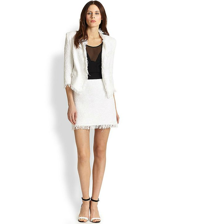 Milly Tweed Frayed Cropped Blazer