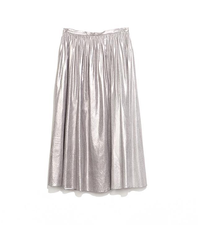 Zara Silver Full Midi Skirt