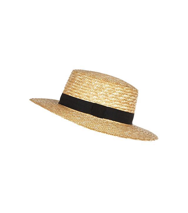 River Island Cream Oversized Straw Boater Hat