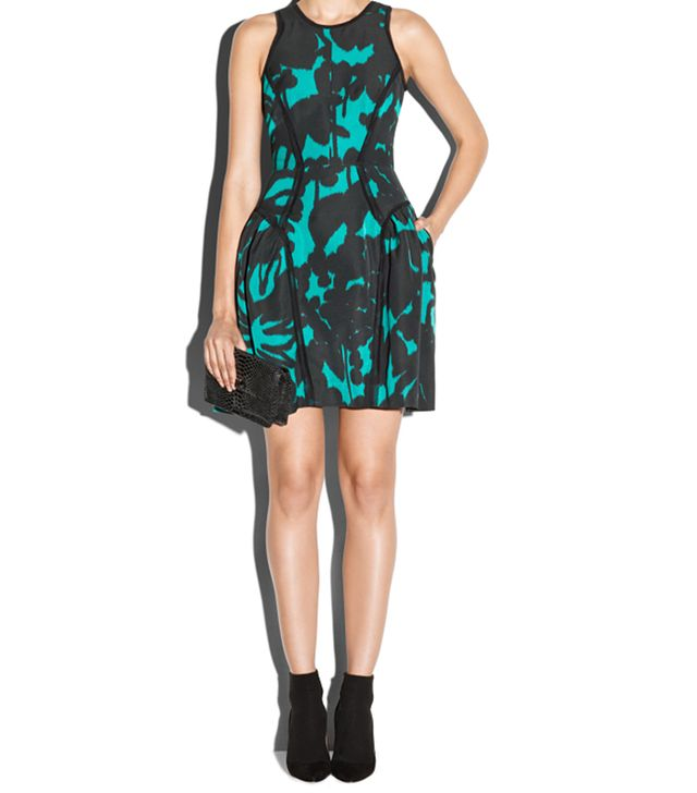 Milly Paneled Raw-Edge Party Dress