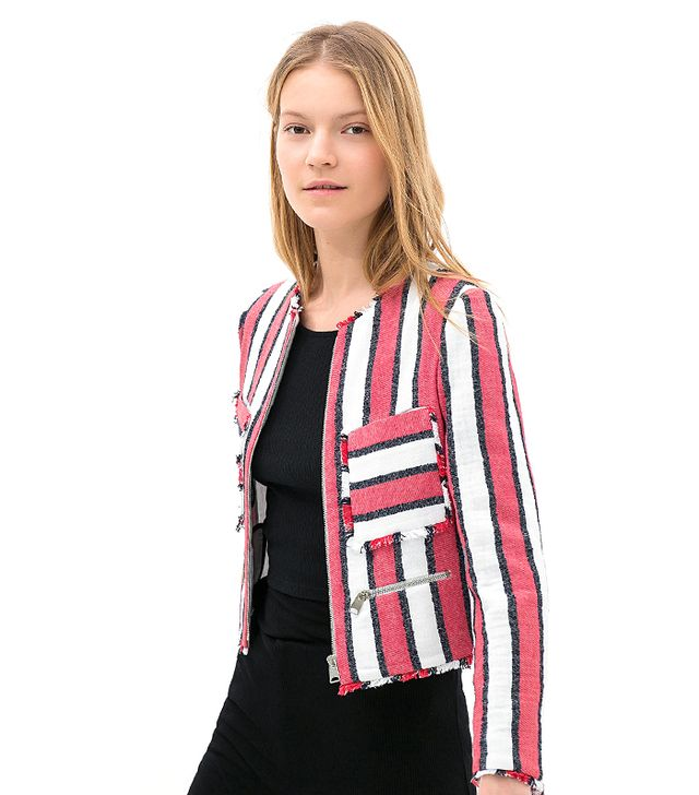 Zara Frayed Striped Jacket