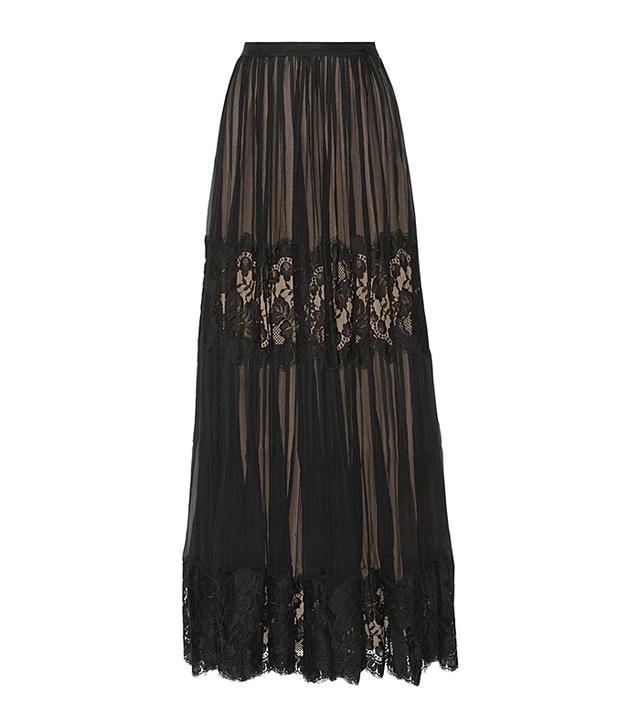 Oscar De La Renta Silk-Chiffon And Lace Skirt
