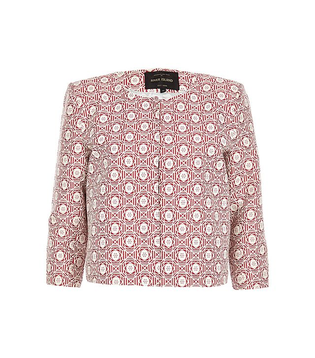 River Island Red Floral Tile Print Boxy Cropped Jacket