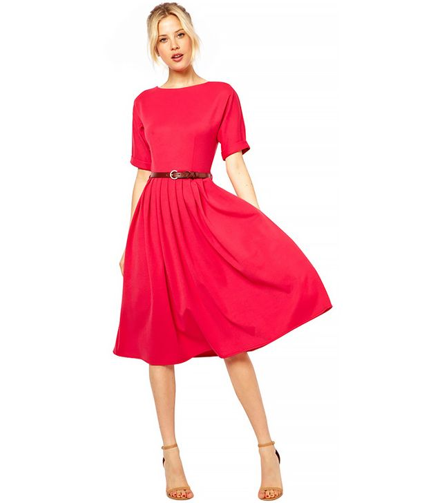 ASOS Midi Dress with Full Skirt and Belt in Pink